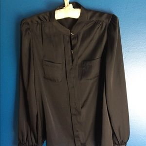 The Limited Small Black Silky Long Sleeve Blouse